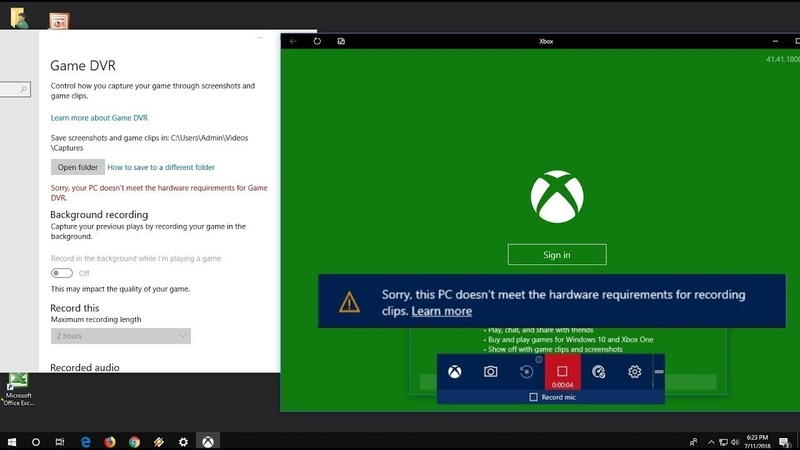 How to Fix Game DVR Error PC doesn't meet the hardware requirements for recording clips