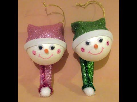 Como hacer una cabeza de un muñeco de nieve para decorar el árbol de navidad