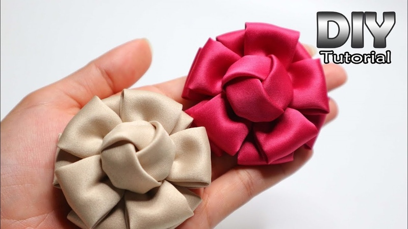 DIY Tutorial Fabric Flower Satin Velvet Bunga Hanna Cara membuat bros bunga kain Patchwork