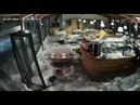 Wave Crashes Through Windows of Italian Restaurant