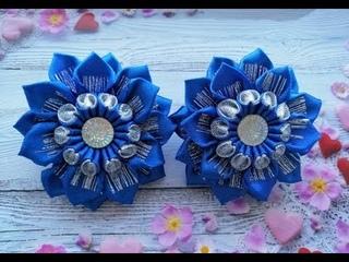 Бантики из лент Резинки для волос МК Канзаши / Ribbon bows / Laços de fitas