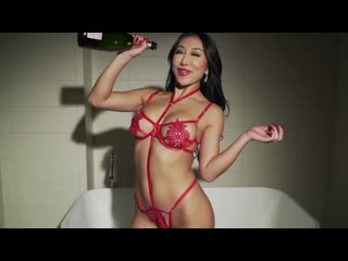 Nicole Doshi - Celebrate Valentines Day with me. Red lingerie, chinese girl, asian