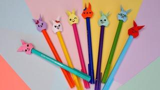 DIY Насадки на карандаши из бумаги Зайки / Канцелярия своими руками / Back to school