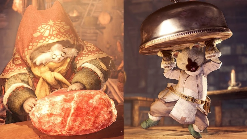 MHW ICEBORNE Grammeowster Chief And Gathering Hub Canteen Cutscene Comparison