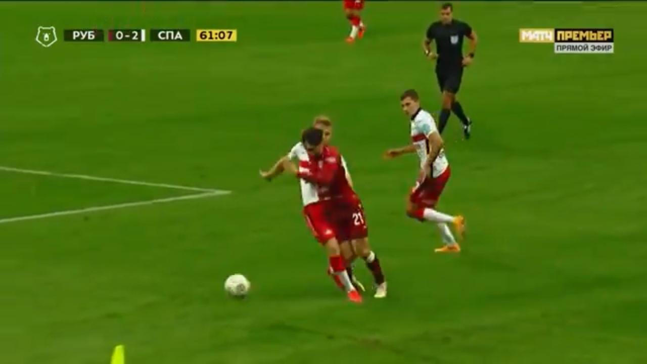 Рубин - Спартак, 0:2. Фол Павла Маслова на Хвиче Кварацхелии