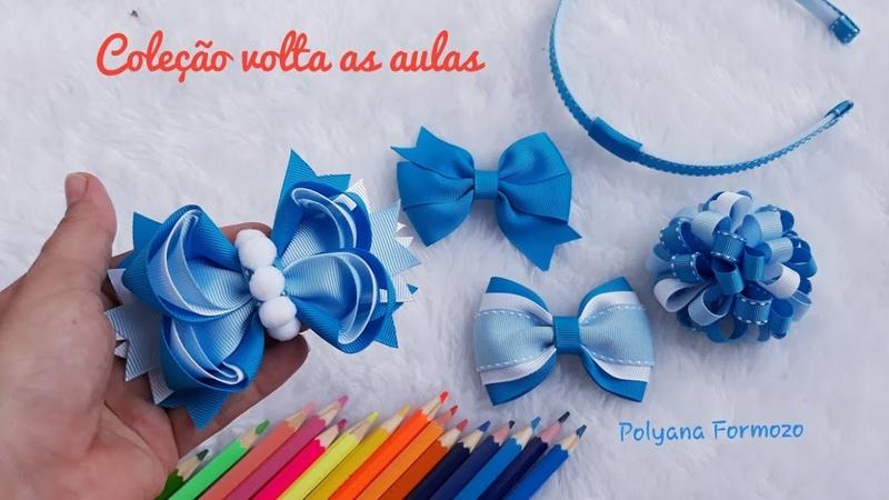 Laço Amora triplo fita n°5 22mm Laço escolar School tie How to make hair bows by Poly formozo