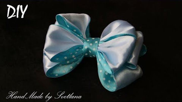 Бантик из ленты КАНЗАШИ DIY Bow made of ribbon Kanzashi Laço de Cetim Curva da fita 12