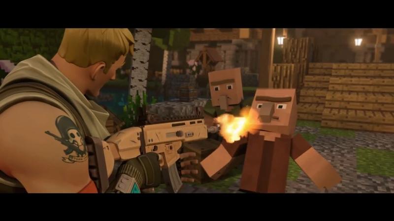 Fortnite Default kills minecraft villagers and minecraft player takes revenge.