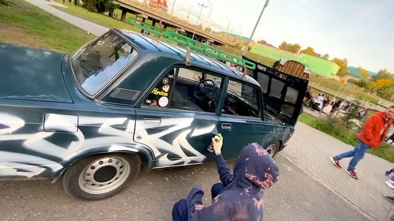 BOZIK Tagging on car VAZ 2107 Граффити Graffiti