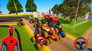 Race Cars and Spiderman   Monster Truck McQueen and Spider VS Monster Trucks
