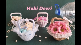 DIY,Making Basket With Plastic Bottles,Wedding Favors,Baby Shower,Gift Basket,Plastik Şişeden Sepet