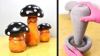 DIY Cement Mushrooms for your Garden | Making Cement Garden Toadstools | Cement Project at Home