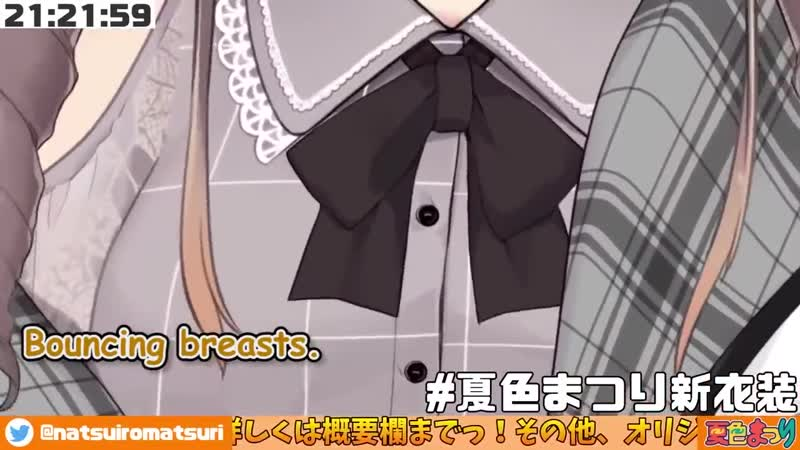 Miyuu hololive ENG translation Vtuber clips hololive Natsuiro Matsuri got striped it and bouncy bre*sts in her new outfit e