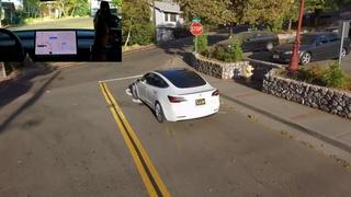 Skydio following Tesla Model 3 FSD BETA