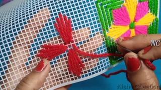Hand fan plastic Canvas design no. 44 || plastic Canvas Hand embroidery|| Nisha Crieation ||