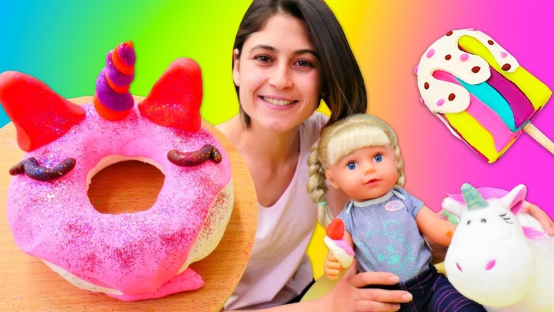 Ayşe ve Gül ile hamur oyunları! Dondurma ve donat yapımı! Play Doh oyuncakları