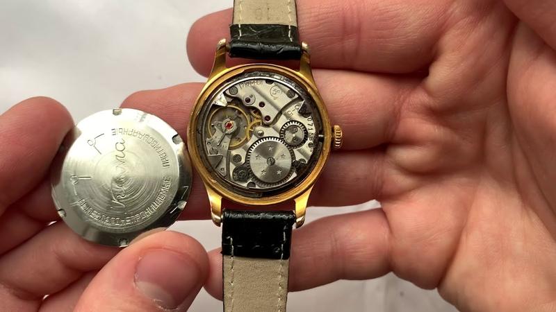 Видеообзор на красивые позолоченные часы Кама Чистопольского часового завода