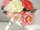 Букет невесты ручной работы handmade из полимерной глины с розовыми пионами и лютиками на заказ