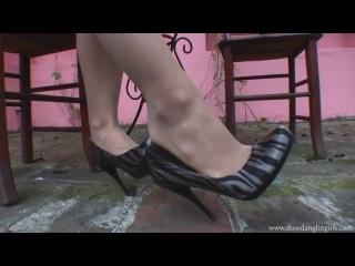 Shoe dangling outside