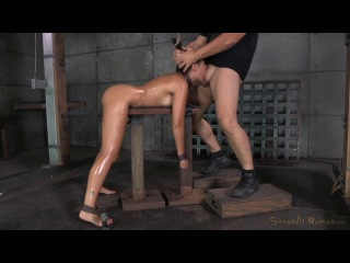 Sexually Broken Busty brunette Ava Dalush chained and shackled in strict bondage, brutal deepthroat and rough