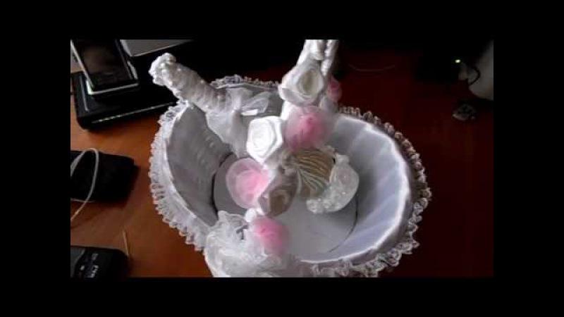 Декупаж свадебной бутылки Шампанского украшение корзинки МАСТЕР КЛАСС