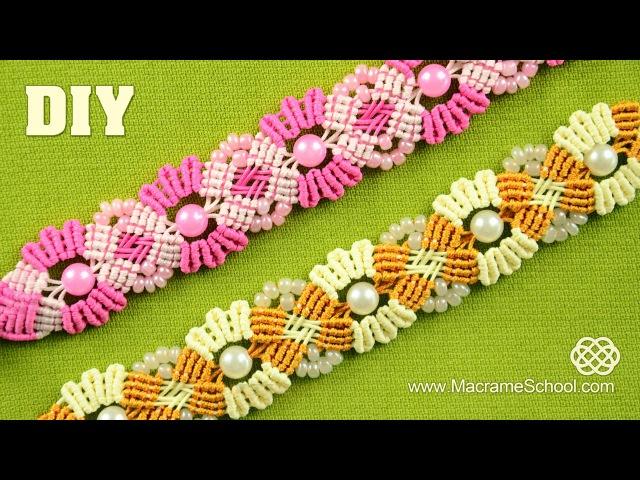 Blooming Macramé Bracelet with Beads Macrame School