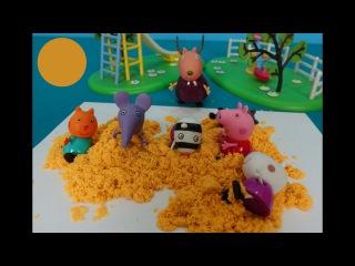 Peppa Pig en español. Peppa en la escuela hace torre de arena. Peppa Cerda y sus amigos