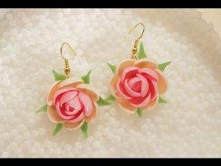Серьги Нежные розы из суперпластика Полиморфус