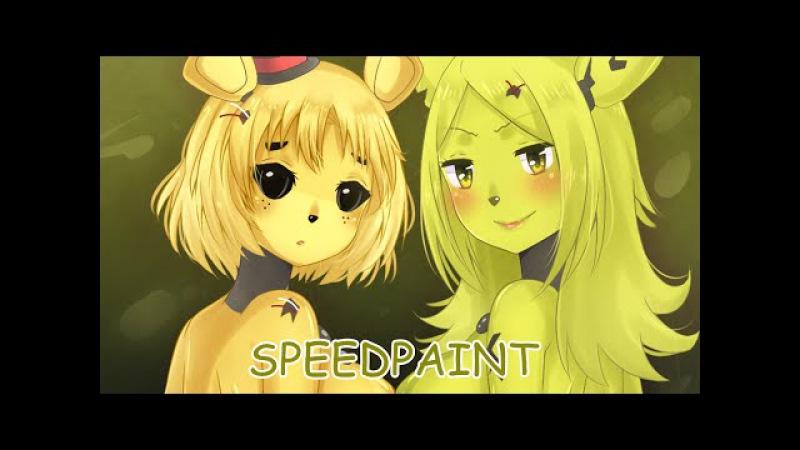 ★SAI speedpaint Golden Freddy Spring Trap FNIA H GAME 15R