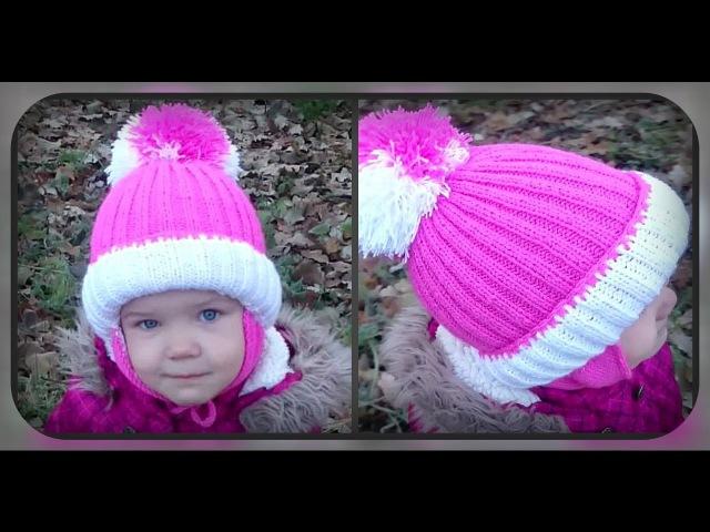 зимняя шапка с ушками на 4 - 5 лет, вязание спицами