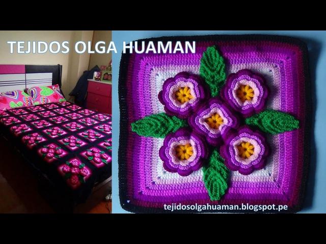 Tejidos a crochet paso a paso muestra 5 flores para colchas video 3