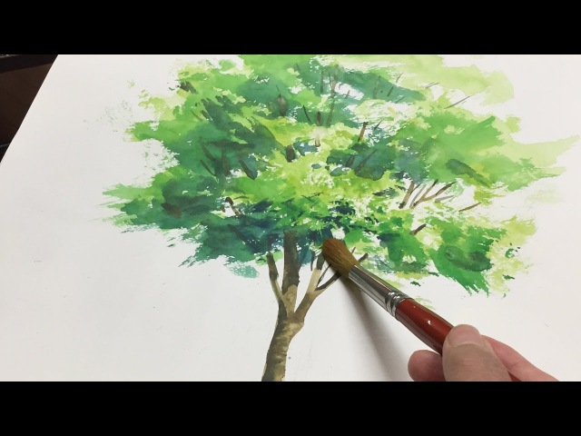 [ Eng sub ] Watercolor Tree Painting easy tutorial 1