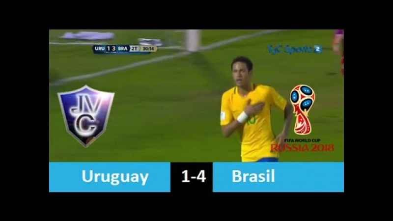 Uruguay 1-4 Brasil 23/03/17 Con Golazo de Neymar Eliminatorias Rusia 2018