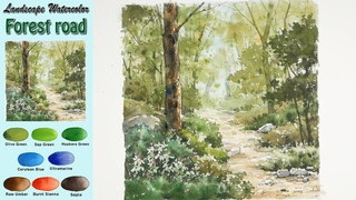 Walk through the forest road - Landscape watercolor (wet-in-wet. Arches)NAMIL ART