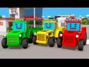 Мультфильм про машинки Трактор, Экскаватор и Бульдозер - 3D Развивающий Мультик В