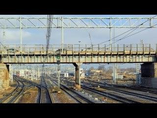 Прибытие в Санкт-Петербург на ЭП2К (Вид из кабины)