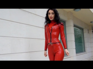 Wearing red latex outfit on a cold day