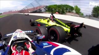 Raw Video: Rahal, Bourdais crash during 2019 Indy 500
