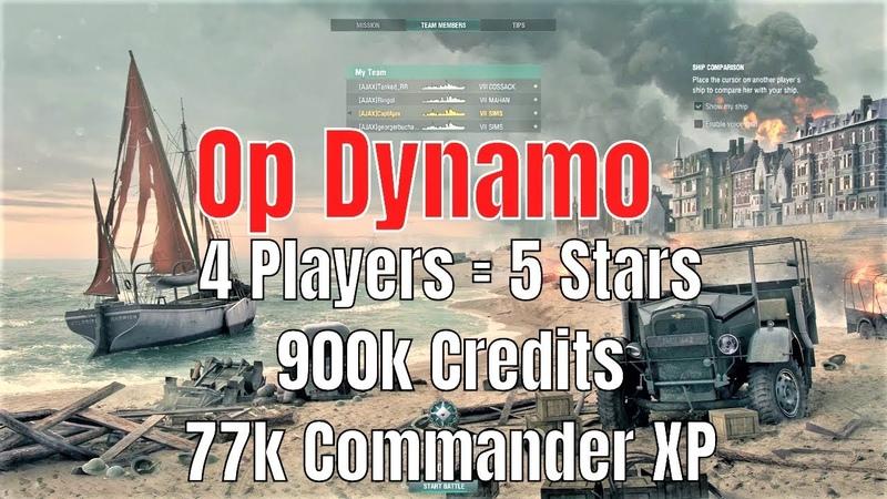 Dynamo OP Ajax Clan 4 players = 5 Stars 900k credits 77k commander xp World of Warships