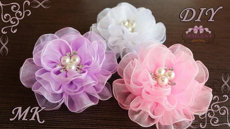 🌺 Воздушные цветы из органзы. Organza Bows DIY