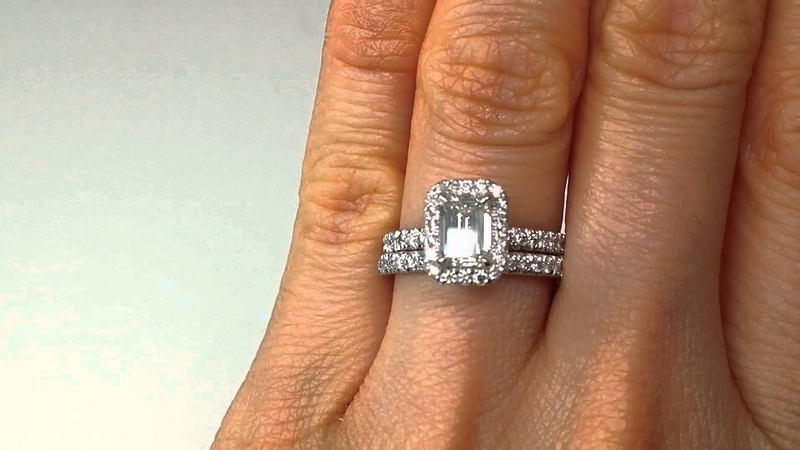 1.63 Emerald Cut Diamond Engagement Ring and Wedding Band Set - BigDiamondsUSA