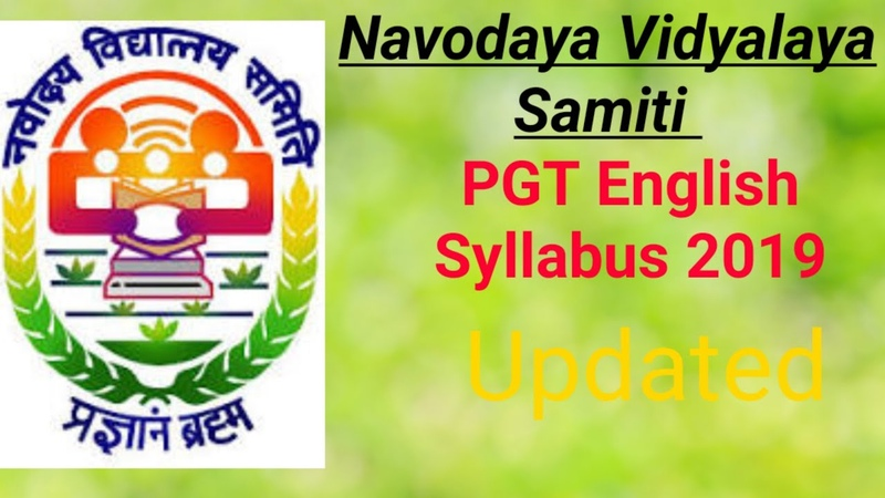 NVS PGT English Syllabus 2019  NVS PGT syllabus