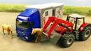 Трактор и Грузовик перевозят лошадей застряв в грязи Мультики про машинки