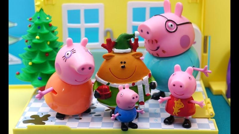 Свинка Пеппа Джорж с Пеппой ждут ночью Деда Мороза с подарками Истории Свинки Пеппы