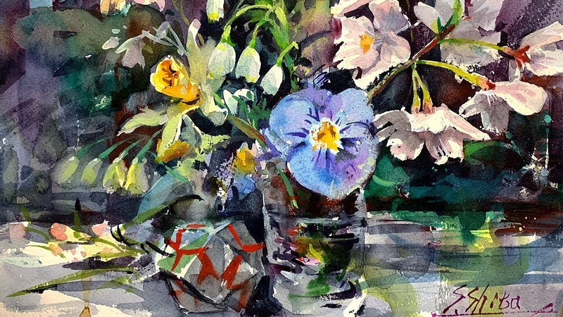Spring Flower Still Life | Sakura, Violet, Narcissus, Snowdrop - Healing Watercolor Art - Calming