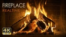 4K HDR Fireplace REALTIME - 6 Hours - Relaxing Fire Burning Video Crackling Sounds - NO LOOP - UHD