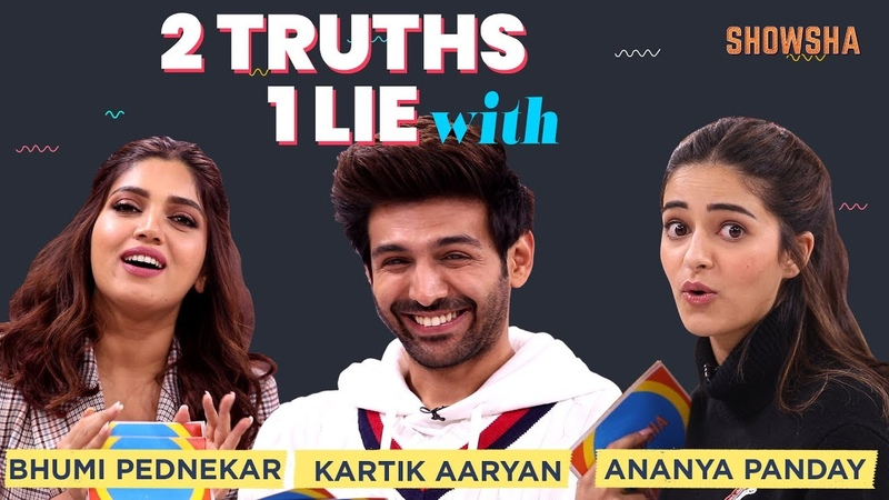 Kartik Aaryan, Bhumi Pednekar and Ananya Panday Play A Game Of Two Truths One Lie   Showsha