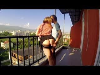 Balcony public sex (amateur, cumshot, porn, redhead, russian, teen, doggy, домашнее, порно, минет, русское, публичное, сперма)