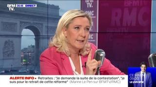 """Rapatriement des femmes de djihadistes : """"On doit les juger là-bas !"""" estime Marine Le Pen"""