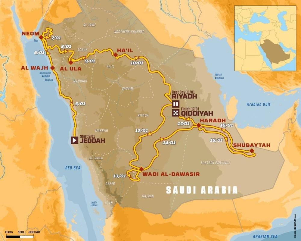 Детальный маршрут ралли Дакар 2020 в Саудовской Аравии